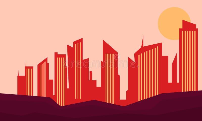在日落风景大厦和小山 皇族释放例证