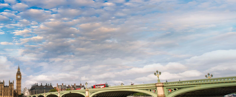 在日落,伦敦全景的威斯敏斯特桥梁 免版税库存图片