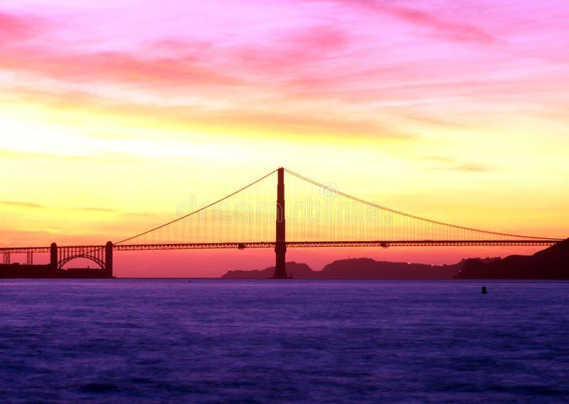 在日落,旧金山的金门桥。 库存照片