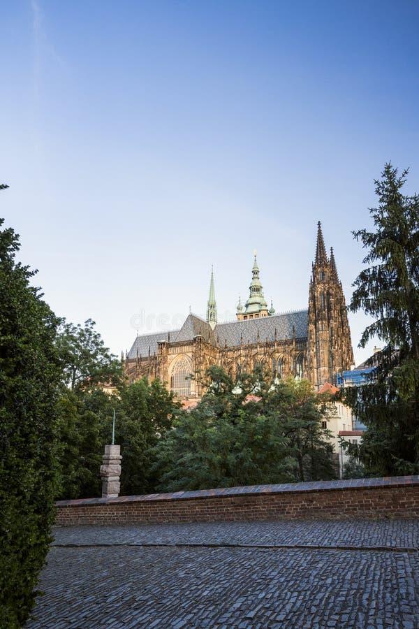 在日落,背面图的布拉格城堡 库存图片
