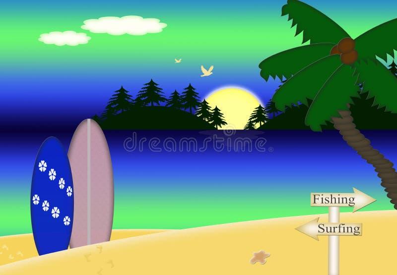 在日落, Palmtree,冲浪板的热带海滩 皇族释放例证