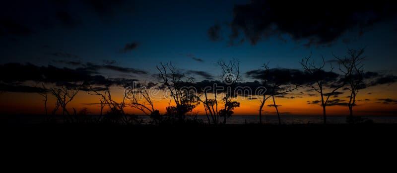 在日落以后的恋人关键海滩全景 图库摄影