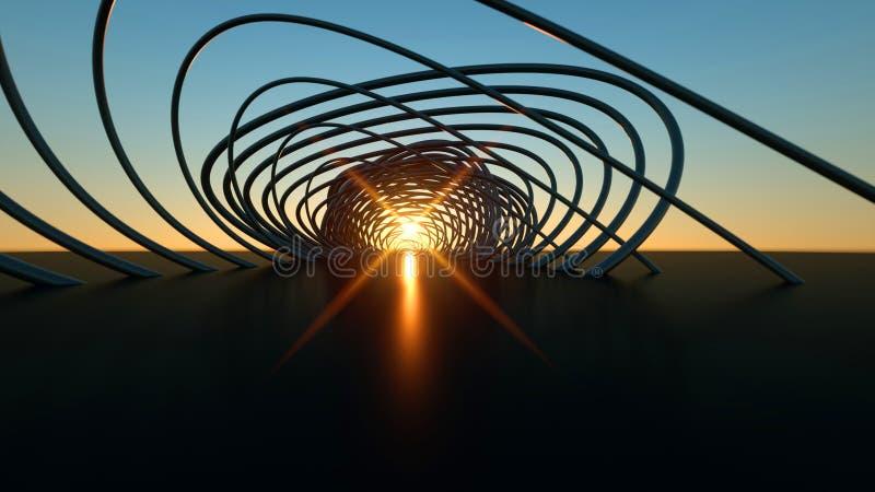在日落3尺寸现实弯曲的现代桥梁的弯曲的现代桥梁在日落 向量例证