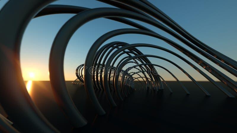 在日落3尺寸现实弯曲的现代桥梁的弯曲的现代桥梁在日落 免版税图库摄影