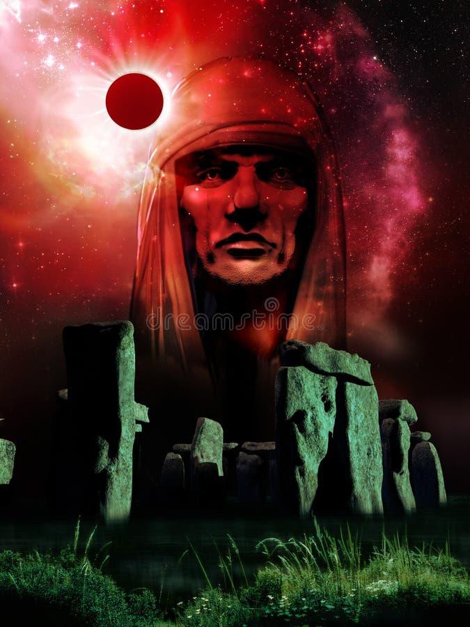 在日蚀下的巨石阵 皇族释放例证
