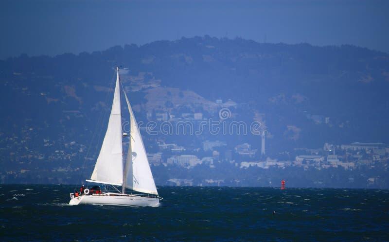 在旧金山湾的风船 库存照片