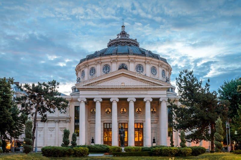 在早晨光的布加勒斯特雅典庙宇 免版税库存照片