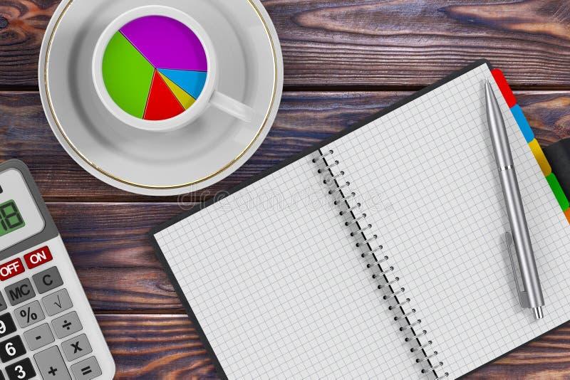 在早晨咖啡杯、计算器、笔和组织者的圆形统计图表 向量例证
