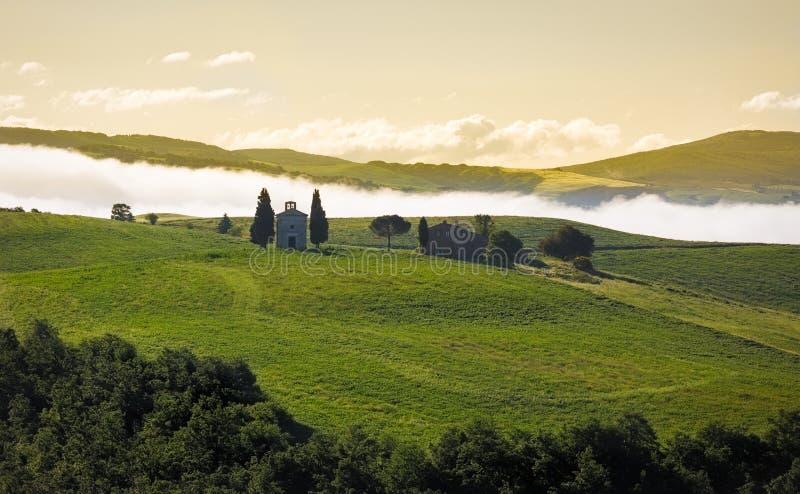 在早晨薄雾, Val d'Orcia,意大利的托斯卡纳风景 免版税库存照片