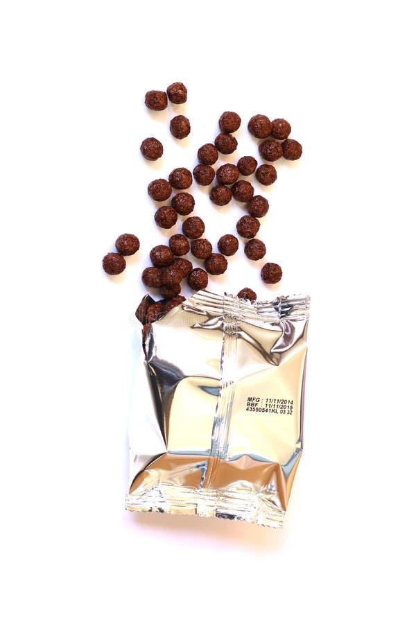 在早晨谷物巧克力芦粟的早餐 库存图片