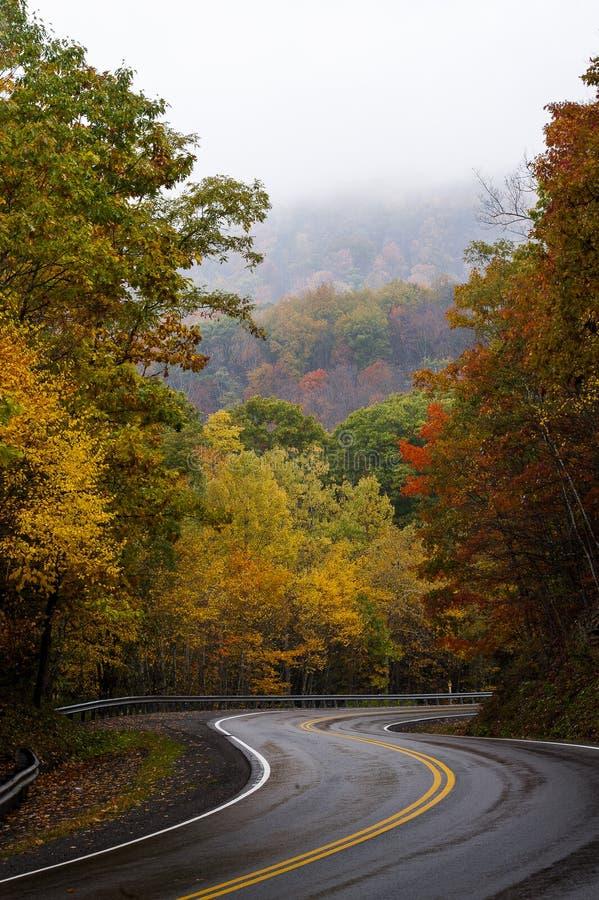 在早晨雾-西维吉尼亚的弯曲的山路 免版税库存图片
