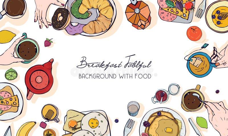 在早餐题材的水平的广告横幅 与饮料、薄煎饼、三明治、鸡蛋、新月形面包和果子的背景 库存例证