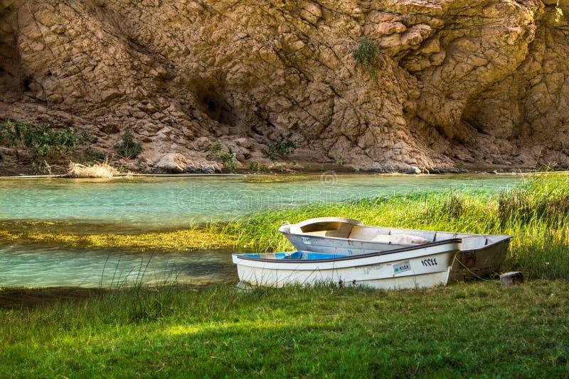 在旱谷旁边的两条小船 库存图片