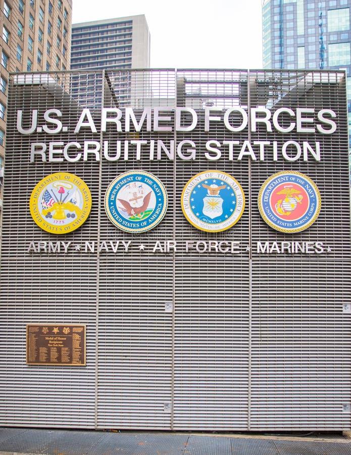 在时代广场纽约的美国武力征兵站 免版税库存照片