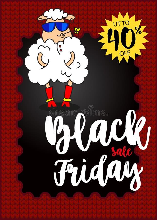 在时兴的玻璃和一朵花的迷人的绵羊在嘴 横幅黑色星期五销售额 最佳的销售额 向量 皇族释放例证