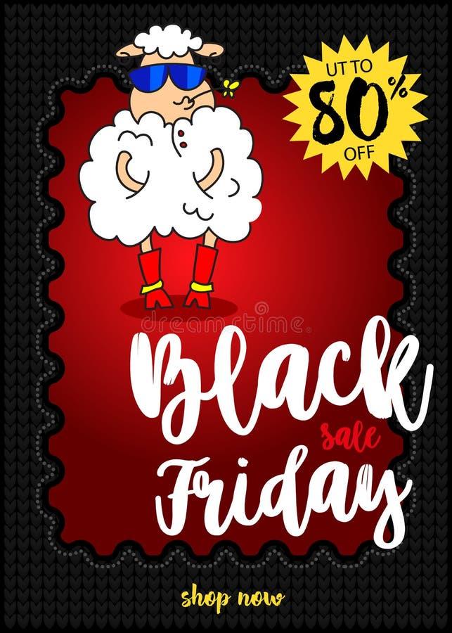 在时兴的玻璃和一朵花的迷人的绵羊在嘴 横幅黑色星期五销售额 最佳的销售额 皇族释放例证