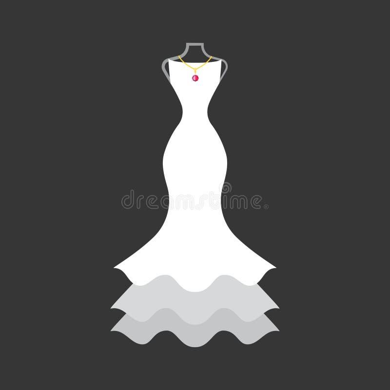 在时装模特的新娘礼服 向量例证