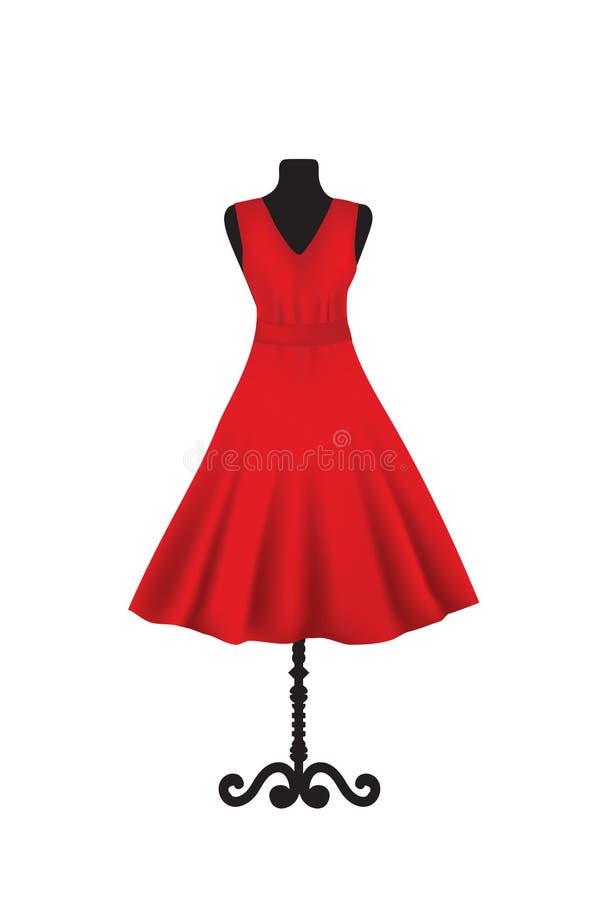 在时装模特的红色庄重装束 库存例证