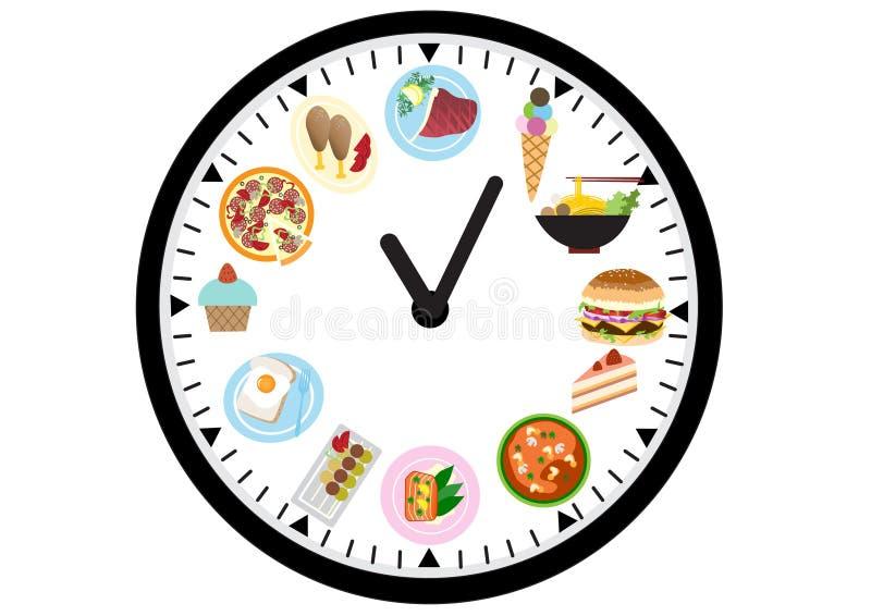 在时钟的食物象,食物设计 皇族释放例证