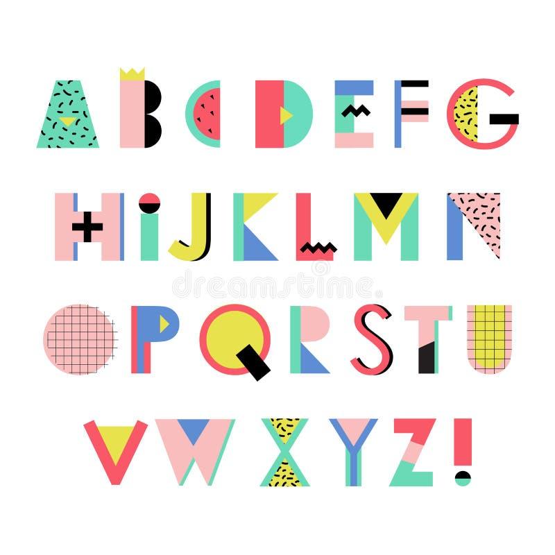 在时髦孟菲斯几何样式的艺术性的字母表 创造性的字体 皇族释放例证