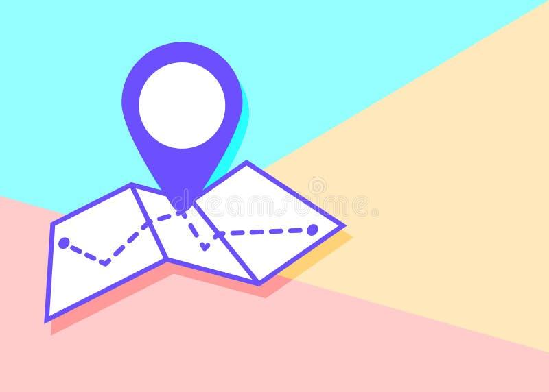 在时髦平的最小的淡色色的样式的地图象在桃红色和蓝色背景 库存例证