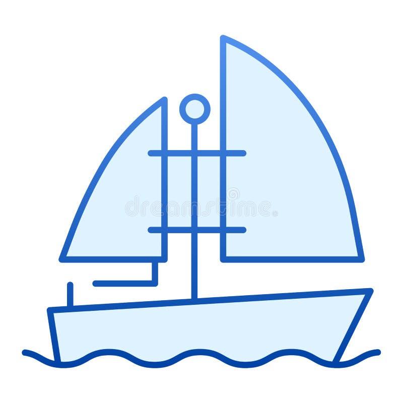 游艇平的象 在时髦平的样式的小船蓝色象 船梯度样式设计,设计为网和应用程序 10 eps 库存例证