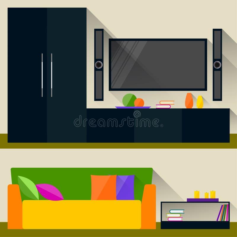 在时髦平的样式的明亮的彩色插图与与室内部的长的阴影用于设计 皇族释放例证