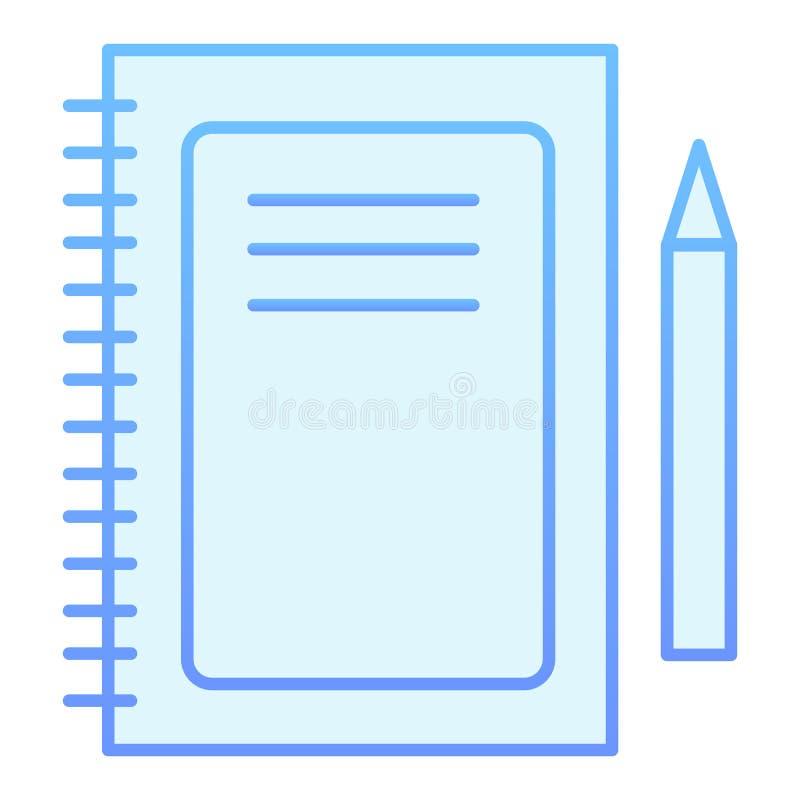 笔记本平的象 在时髦平的样式的笔记薄和笔蓝色象 垫梯度样式设计,设计为网和应用程序 皇族释放例证