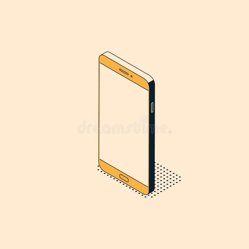 在时髦平的样式的等量手机与织地不很细阴影 库存例证