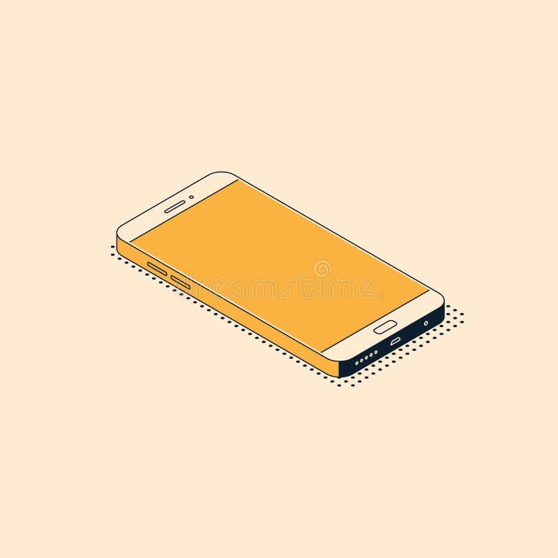 在时髦平的样式的等量手机与说谎表面上的织地不很细阴影 向量例证