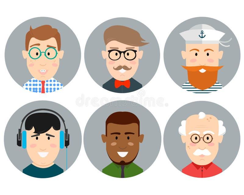 在时髦平的样式设置的五颜六色的男性面孔圈子象 皇族释放例证