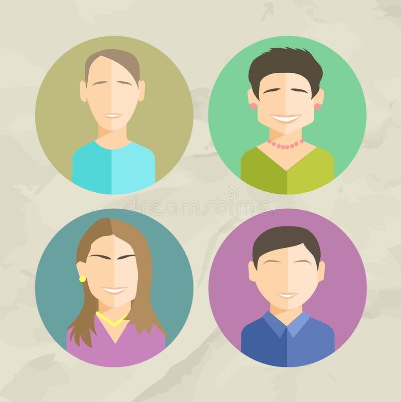在时髦平的样式设置的五颜六色的面孔圈子象 皇族释放例证