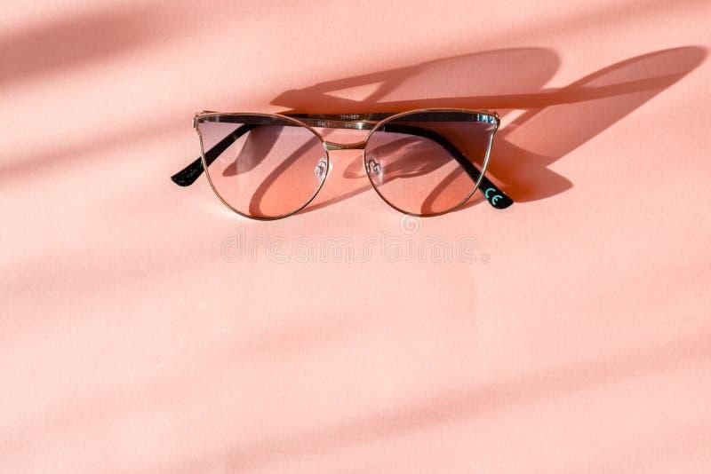 在时髦桃红色纸背景的现代典雅的金属框架太阳镜在阳光下 r 假期和党概念 免版税库存照片
