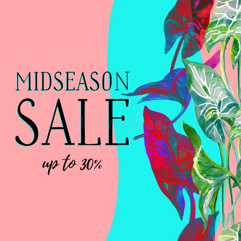 在时髦淡色蓝色和桃红色颜色的季节中间销售横幅与热带叶子 向量例证