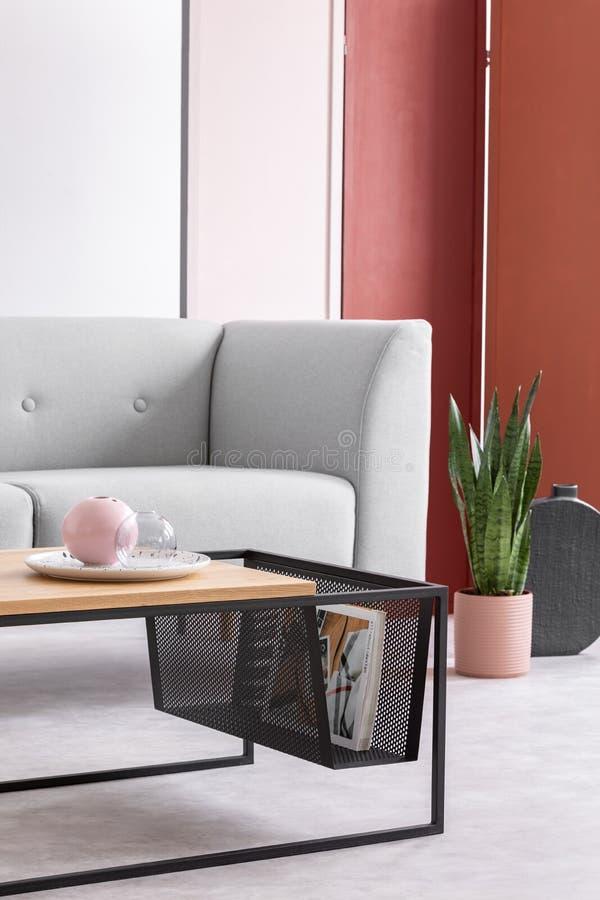 在时髦的客厅内部,真正的照片的现代咖啡桌 库存照片