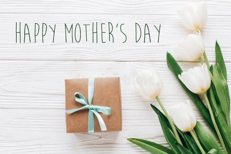 在时髦的工艺礼物箱子和tul的愉快的母亲节文本标志 库存图片