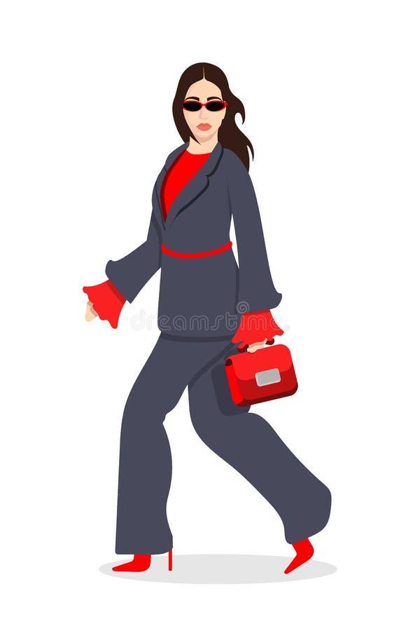 在时髦的时髦衣裳打扮的妇女-女性时尚例证 库存例证