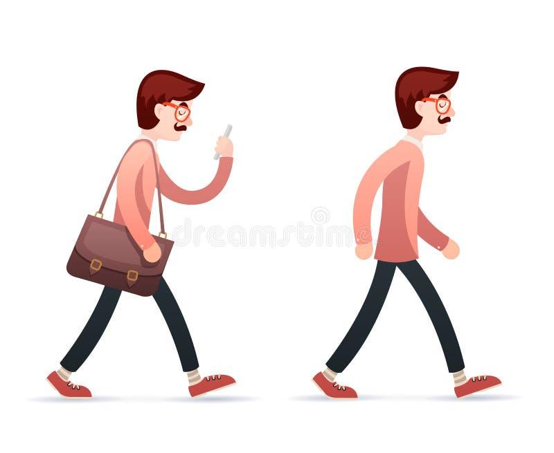 在时髦的背景减速火箭的动画片设计的葡萄酒男性怪杰行家工程师字符步行手机旅行包象 库存例证