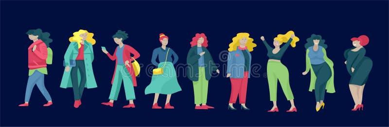 在时髦的衣物打扮的正大小妇女 穿时髦衣裳的套弯曲的女孩 愉快的字符 Bodypositive 向量例证