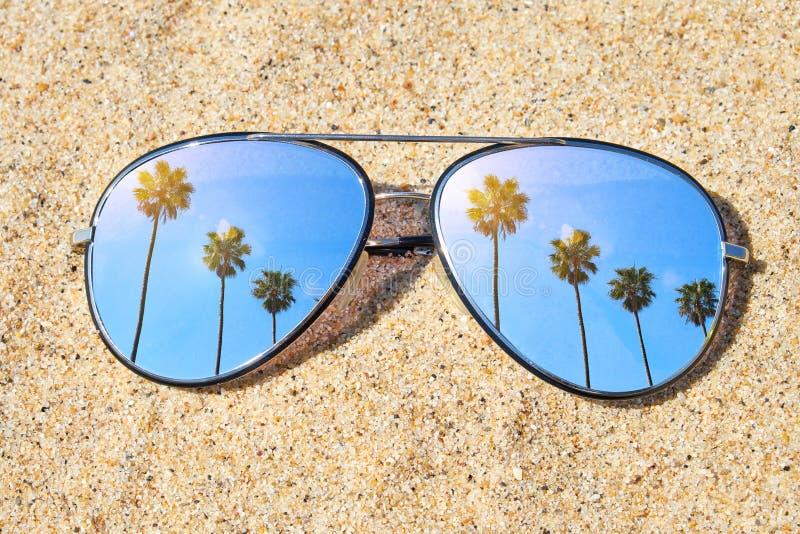 在时髦的被反映的太阳镜的棕榈树在反对绿松石天空的沙子 在海滩的暑假 免版税库存图片