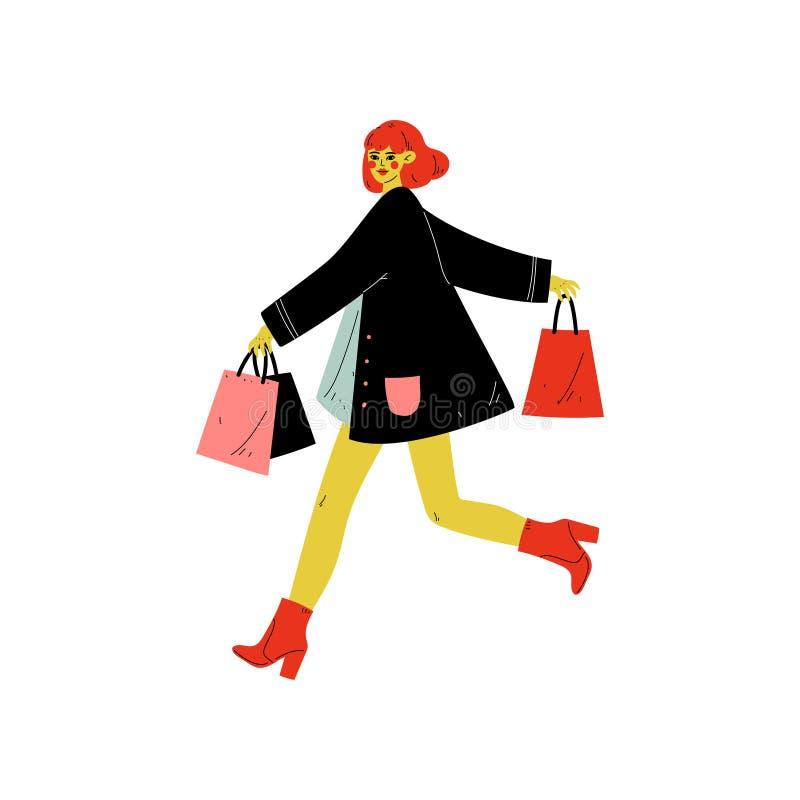 在时髦衣裳打扮的年轻女人运行与有购买的购物带来,在商店,购物中心,商店的季节性销售 库存例证
