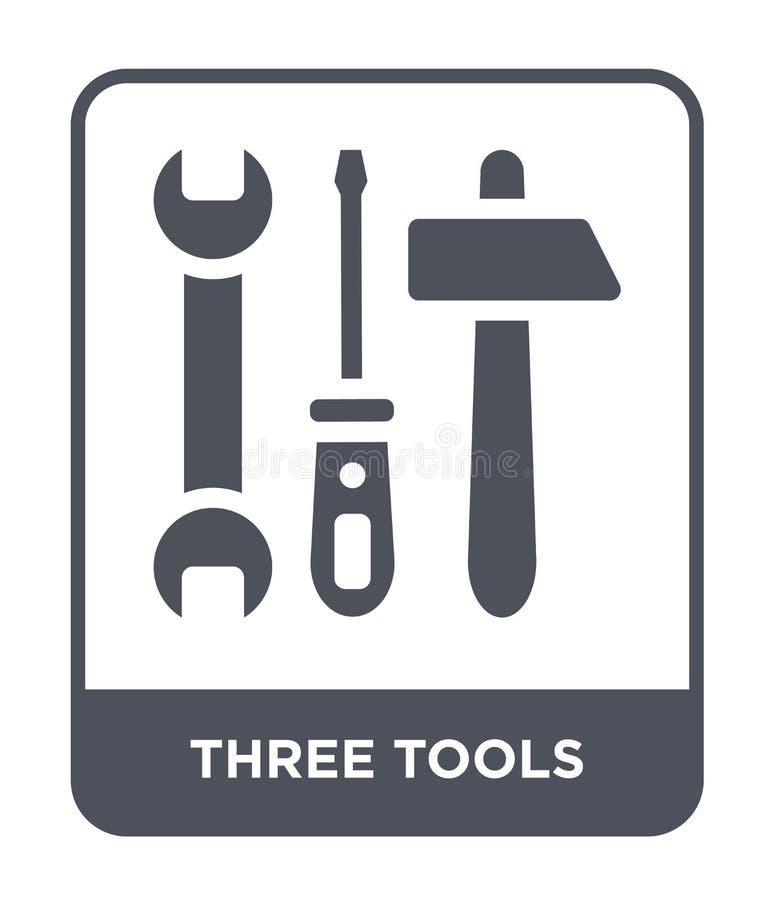 在时髦设计样式的三个工具象 在白色背景隔绝的三个工具象 三个工具导航现代的象简单和 库存例证