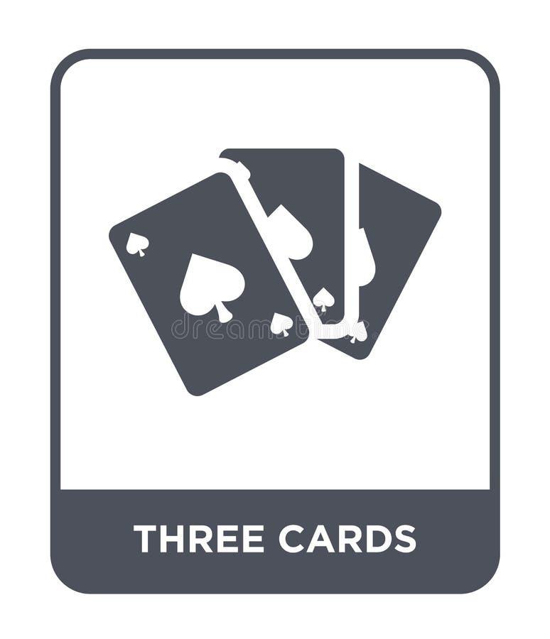 在时髦设计样式的三张卡片象 在白色背景隔绝的三张卡片象 三张卡片导航现代的象简单和 库存例证