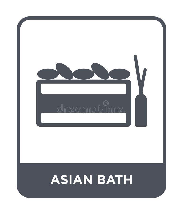 在时髦设计样式的亚洲浴象 在白色背景隔绝的亚洲浴象 现代亚洲浴传染媒介的象简单和 向量例证