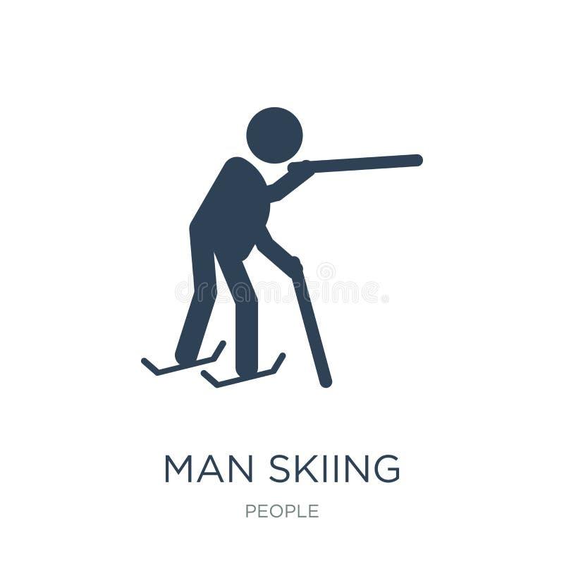 在时髦设计样式的人滑雪的象 在白色背景隔绝的人滑雪的象 现代人滑雪的传染媒介的象简单和 皇族释放例证