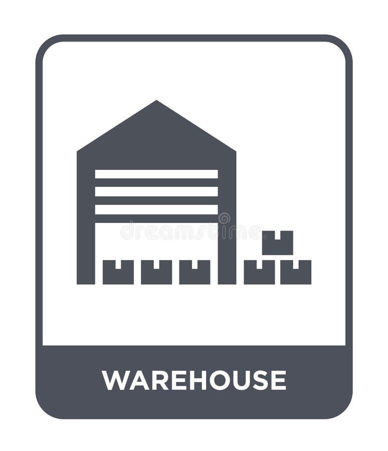 在时髦设计样式的仓库象 在白色背景隔绝的仓库象 仓库传染媒介象简单和现代舱内甲板 皇族释放例证