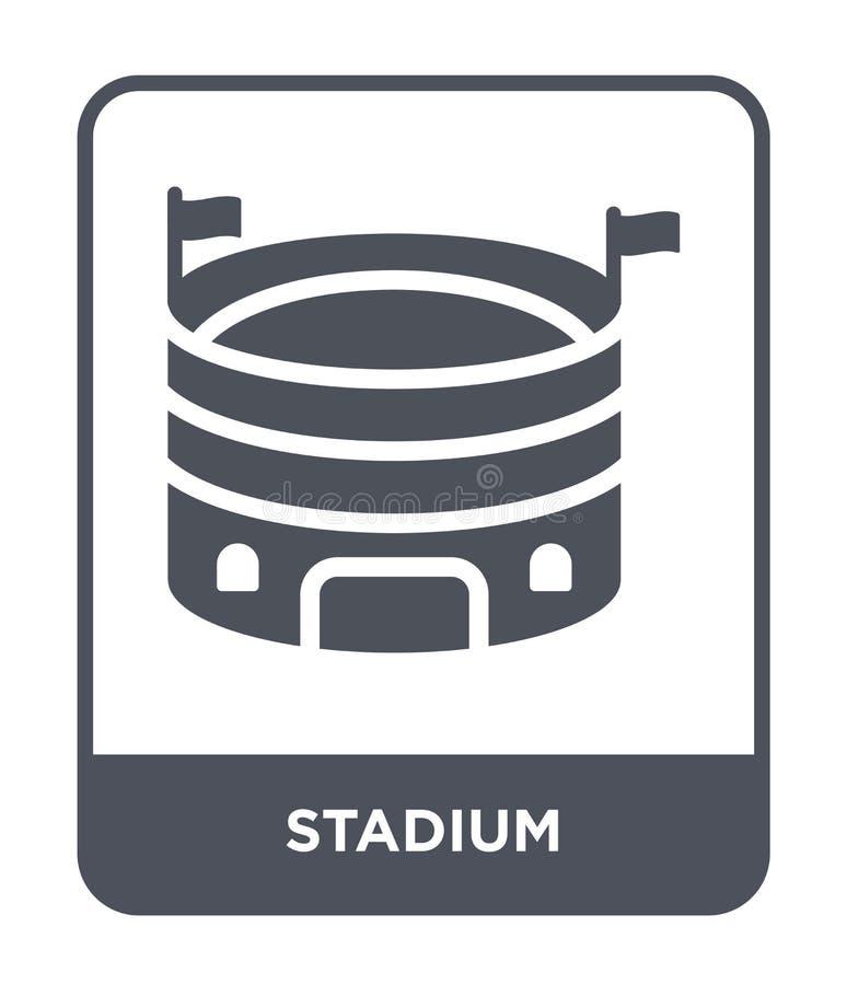 在时髦设计样式的体育场象 在白色背景隔绝的体育场象 体育场传染媒介象简单和现代平的标志 皇族释放例证