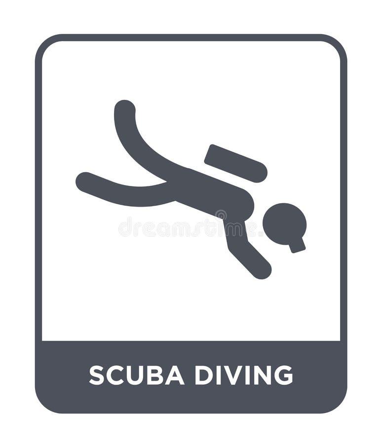 在时髦设计样式的佩戴水肺的潜水象 在白色背景隔绝的佩戴水肺的潜水象 佩戴水肺的潜水简单传染媒介的象和 库存例证