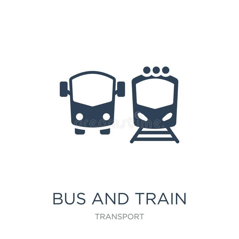 在时髦设计样式的公共汽车和火车象 公车运送并且训练在白色背景隔绝的象 公共汽车和火车简单传染媒介的象和 皇族释放例证