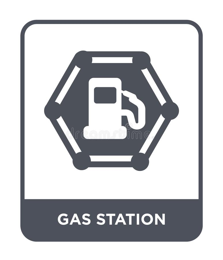 在时髦设计样式的加油站象 在白色背景隔绝的加油站象 加油站现代传染媒介的象简单和 库存例证